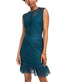 Juniors' Rosette-Lace Flounce Dress