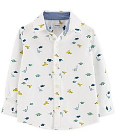 Toddler Boys Dinosaur-Print Oxford Button-Front Cotton Shirt