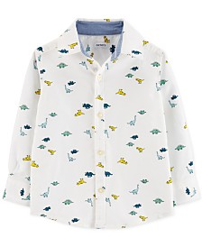 Carter's Toddler Boys Dinosaur-Print Oxford Button-Front Cotton Shirt