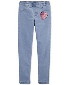 Little & Big Girls Sequin-Heart Pull-On Jeggings