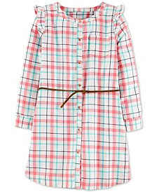 Little & Big Girls Belted Plaid Twill Dress