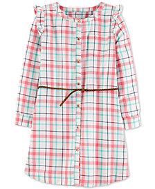 Carter's Little & Big Girls Belted Plaid Twill Dress