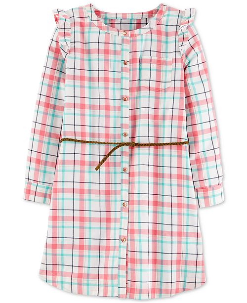 Carter's Little & Big Girls Belted Plaid Twill Dress