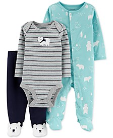 Baby Boys 3-Pc. Cotton Polar Bear Bodysuit, Footed Coverall & Footed Pants Set