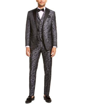 Men's Charcoal Black Floral Dinner Jacket