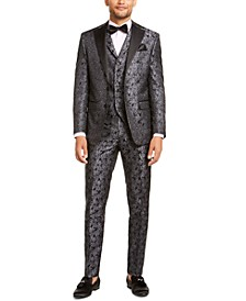 Men's Charcoal Floral Suit Separates
