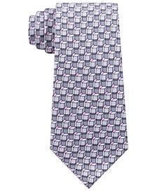 Men's Classic Angular Geo-Print Silk Twill Tie