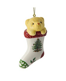 Christmas Tree Teddy Bear in Stocking Ornament