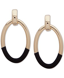DKNY Gold-Tone Leather-Wrapped Drop Hoop Earrings