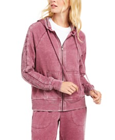 Ideology Burnout Smocked-Sleeve Zip Hoodie, Created for Macy's