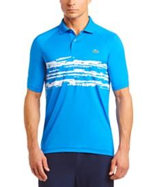 Lacoste Men's Performance Stretch Novak Djokovic Stripe Raglan Polo Shirt