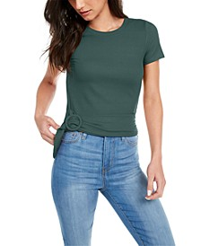 Juniors' Buckled Ribbed-Knit Top