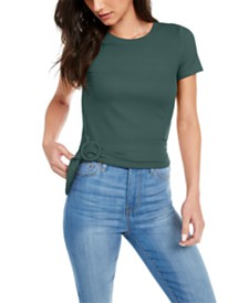 Planet Gold Juniors' Buckled Ribbed-Knit Top