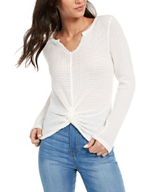 Derek Heart Juniors' Split-Neck Twist-Front Top