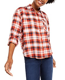 Juniors' Plaid Flannel Shirt