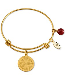 Follow Your Inner Compass Charm Bangle Bracelet in Gold-Tone Stainless Steel