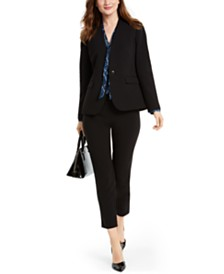 Nine West One-Button Collarless Jacket, Printed Blouse & Slim-Leg Pants