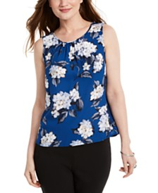 Nine West Ruched Jewel-Neck Floral-Print Top