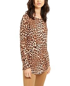 INC Long-Sleeve Cheetah-Print Top, Created for Macy's