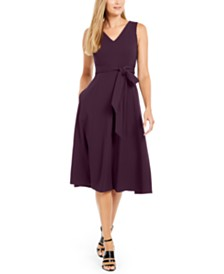 Calvin Klein Belted V-Neck Dress