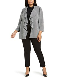 Plus Size Houndstooth Jacket, Ruffle-Neck Blouse & Stretch-Waist Ankle Pants