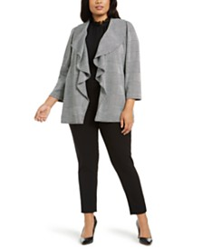 Calvin Klein Plus Size Houndstooth Jacket, Ruffle-Neck Blouse & Stretch-Waist Ankle Pants