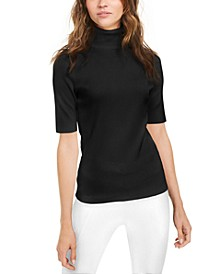 Elbow-Sleeve Turtleneck Top