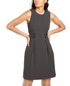 Anne Klein Pleated Dot-Print Sleeveless Dress