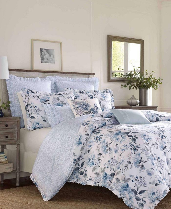 Laura Ashley - Chloe Cottage Blue Comforter Set, Twin