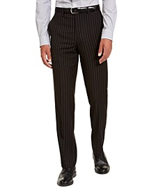 Men's Classic-Fit Stretch Black Pinstripe Suit Separate Pants
