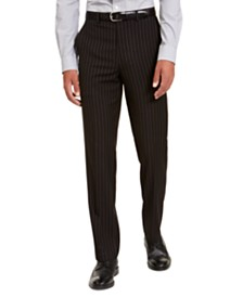 Sean John Men's Classic-Fit Stretch Black Pinstripe Suit Separate Pants