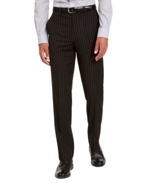 1920s Men's Pants, Trousers, Plus Fours, Knickers Sean John Mens Classic-Fit Stretch Black Pinstripe Suit Separate Pants $53.99 AT vintagedancer.com