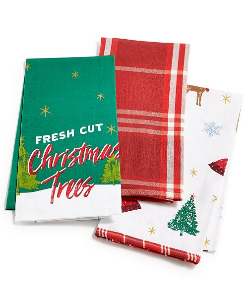Holiday Kitchen Towels Set Of 3 Created For Macy S