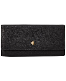 Pebbled Leather Flap Continental Wallet