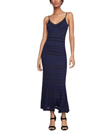 BCBGMAXAZRIA Fringe-Trim Maxi Dress