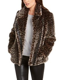 Calvin Klein Leopard-Print Faux-Fur Moto Coat