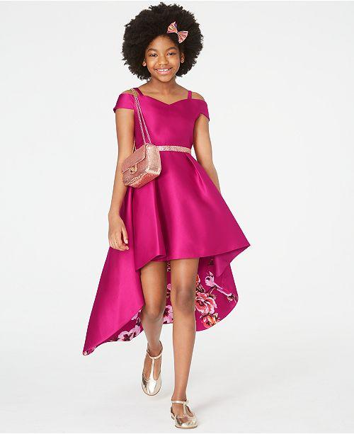 Rare Editions Big Girls Cold-Shoulder High-Low Dress