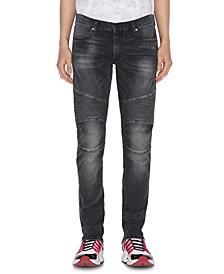 Men's Gray Skinny Moto Jeans