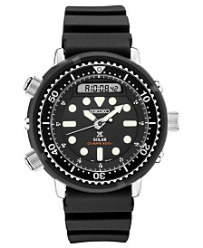 Seiko Men's Solar Analog-Digital Prospex Divers Black Silicone Strap Watch 47.8mm