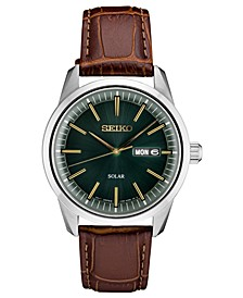 Men's Solar Essentials Brown Leather Strap Watch 40mm