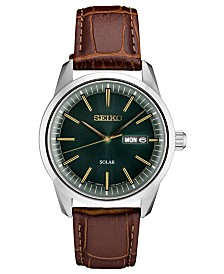 Seiko Men's Solar Essentials Brown Leather Strap Watch 40mm
