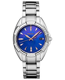 Seiko Women's Diamond-Accent Stainless Steel Bracelet Watch 33.3mm