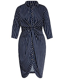 City Chic Trendy Plus Size Twisted Shirtdress