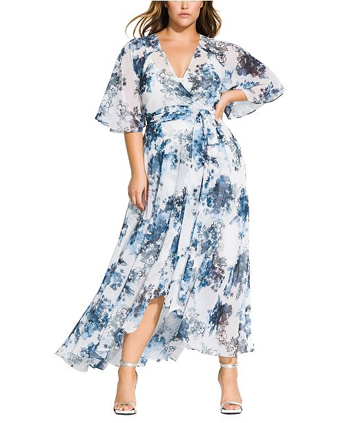 City Chic Trendy Plus Size Floral-Print Wrap Maxi Dress