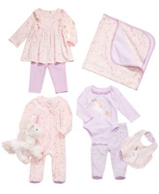 Baby Girls Cotton Ruffled Unicorn Coverall, Created for Macy's