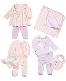 First Impressions Baby Girls Unicorn Blanket, Bib, Plush Toy & Matching Outfits, Created for Macy's
