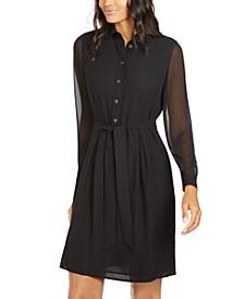 Chiffon-Sleeve Shirtdress