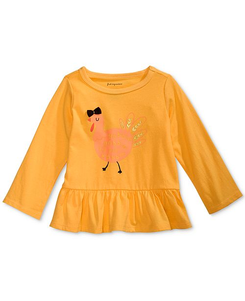 First Impressions Baby Girls Cotton Gobble Gobble Peplum-Hem T-Shirt, Created for Macy's