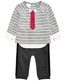 Baby Boys 2-Pc. Striped Necktie Top & Jogger Pants Set, Created For Macy's