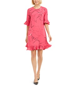 Alfani Pleated Ruffle-Trim Printed Dress, Created for Macy's